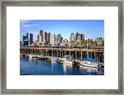 Boston Skyline At Piers Park Photo Framed Print
