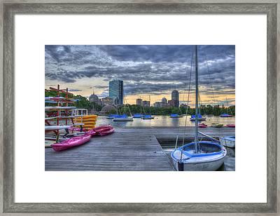 Boston Skyline At Sunset Framed Print