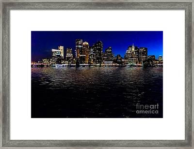 Boston Skyline At Twilight Framed Print by Tamyra Ayles