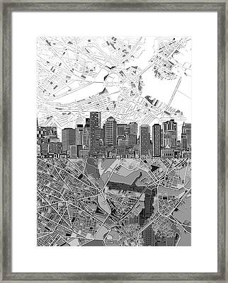 Boston Skyline Black And White 3 Framed Print