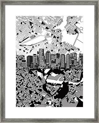 Boston Skyline Black And White Framed Print