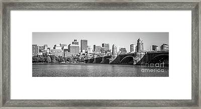 Boston Skyline Black And White Panorama Photo Framed Print by Paul Velgos