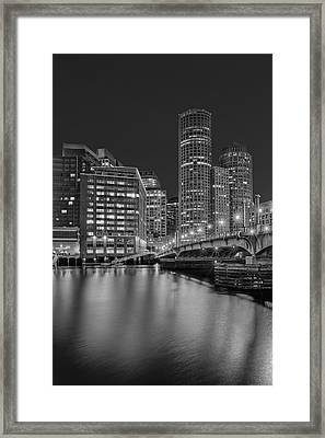Boston Skyline Blue Hour Bw Framed Print