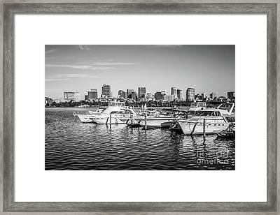 Boston Skyline Boats Black And White Photo Framed Print by Paul Velgos