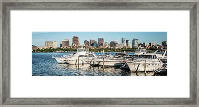 Boston Skyline Charles River Boats Panorama Photo Framed Print by Paul Velgos