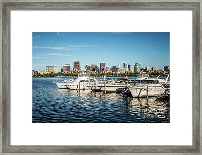 Boston Skyline Charles River Boats Photo Framed Print by Paul Velgos