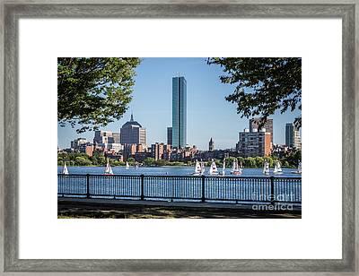 Boston Skyline Charles River Sailboats Photo Framed Print by Paul Velgos