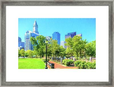 Boston Skyline From Columbus Park Framed Print