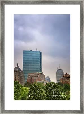 Boston Skyline From Public Garden Framed Print by Elizabeth Dow