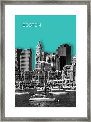 Boston Skyline - Graphic Art - Cyan Framed Print