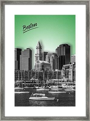 Boston Skyline - Graphic Art - Green Framed Print