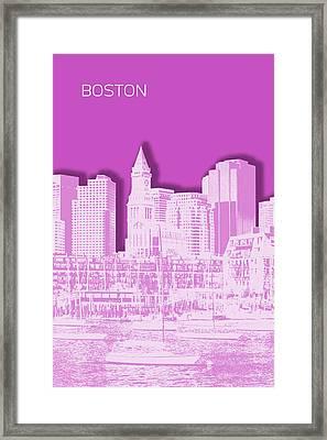 Boston Skyline - Graphic Art - Pink Framed Print