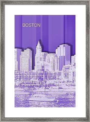 Boston Skyline - Graphic Art - Purple Framed Print