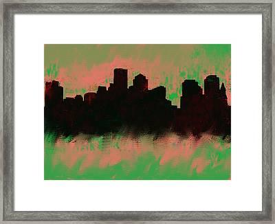 Boston Skyline Green  Framed Print by Enki Art