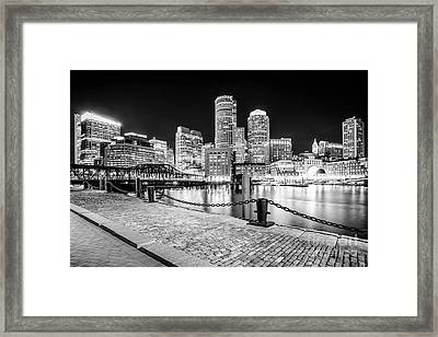 Boston Skyline Harbor Black And White Photo Framed Print
