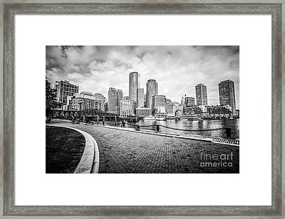 Boston Skyline Harborwalk Black And White Picture Framed Print