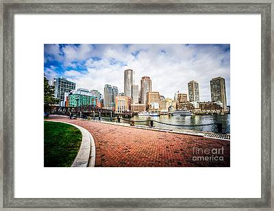 Boston Skyline Harborwalk Picture Framed Print by Paul Velgos