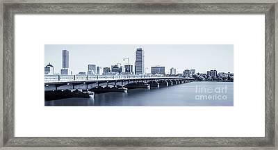 Boston Skyline Harvard Bridge Panorama Photo Framed Print by Paul Velgos