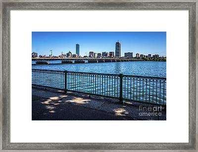 Boston Skyline Harvard Bridge Photo Framed Print
