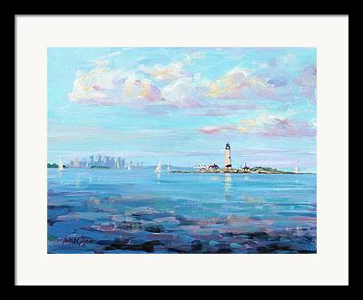New England Lighthouse Paintings Framed Prints
