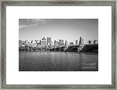 Boston Skyline Longfellow Bridge Black And White Photo Framed Print by Paul Velgos