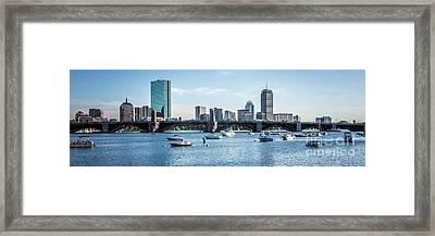 Boston Skyline Longfellow Bridge Panorama Photo Framed Print by Paul Velgos