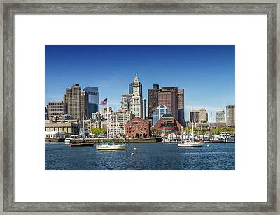 Boston Skyline North End And Financial District Framed Print