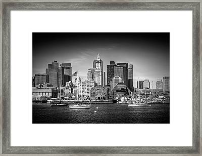 Boston Skyline North End - Monochrome Framed Print