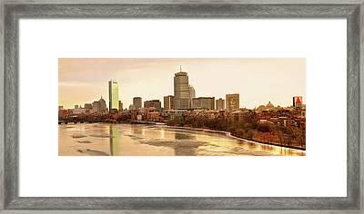 Boston Skyline On A December Morning Framed Print