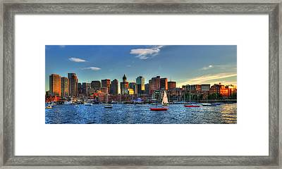 Boston Skyline Panoramic - Boston Harbor Framed Print by Joann Vitali