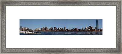 Boston Skyline Panoramic In Winter Framed Print by Panoramic Images
