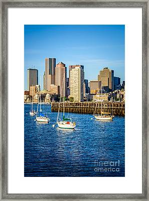 Boston Skyline Photo With Port Of Boston Framed Print by Paul Velgos