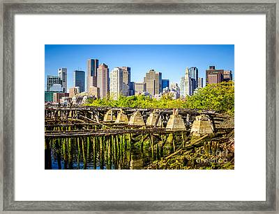 Boston Skyline Picture With Old Ruined Pier Framed Print