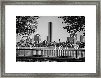 Boston Skyline Sailboats Black And White Photo Framed Print