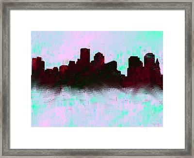 Boston Skyline Sky Blue  Framed Print by Enki Art