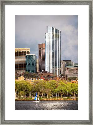 Boston Skyline Skyscraper Boston Ma Charles River Framed Print by Toby McGuire