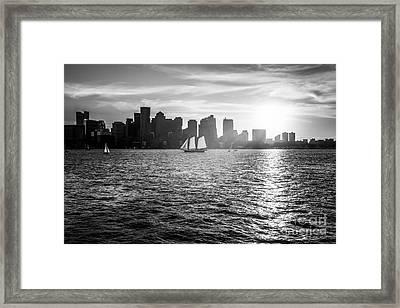Boston Skyline Sunset Black And White Photo Framed Print