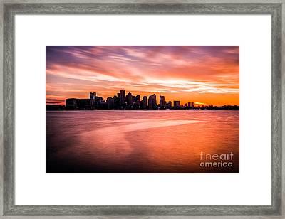 Boston Skyline Sunset Colorful Orange Sky Framed Print