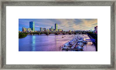 Boston Skyline Sunset Framed Print by Joann Vitali