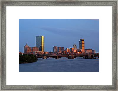 Framed Print featuring the photograph Boston Skyline Sunset by Juergen Roth