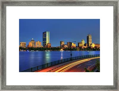 Boston Skyline Sunset Over Back Bay And The Charles River Framed Print