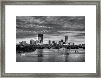 Boston Skyline Sunset Over Back Bay In Bw Framed Print