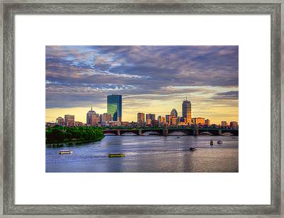 Boston Skyline Sunset Over Back Bay Framed Print by Joann Vitali