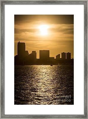 Boston Skyline Sunset Picture Framed Print