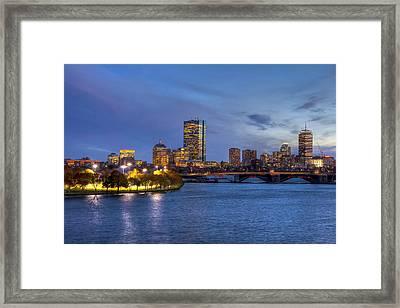 Boston Skyline Twilight Over Back Bay Framed Print