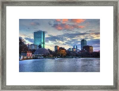 Boston Skyline Winter Sunset Framed Print