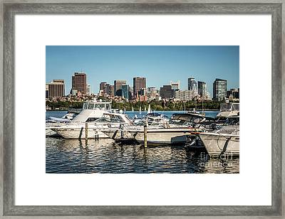 Boston Skyline With Boats Photo Framed Print by Paul Velgos