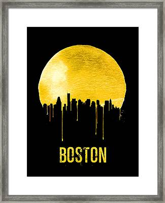 Boston Skyline Yellow Framed Print