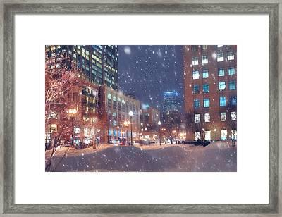 Boston Snowstorm In Back Bay Framed Print by Joann Vitali