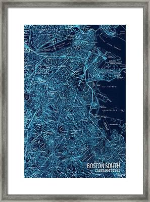 Boston South Map Year 1944 Framed Print